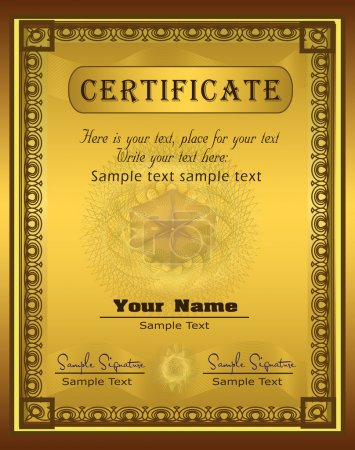 Vector Certificate gold frame Vertical