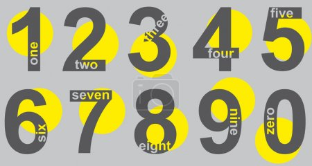 Illustration for Set number grey with yellow point - Royalty Free Image