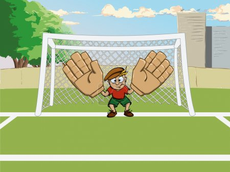 Cartoon soccer goalkeeper on gate