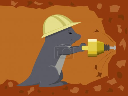 Mole digging a tunnel with a jackhammer