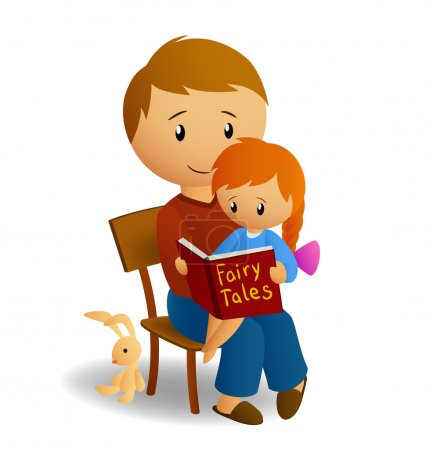 Illustration for Vector illustration of daddy and his little daughter on his knee read the book with fairy tales - Royalty Free Image