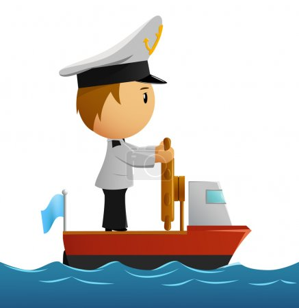 Cartoon captain sailor in uniform on the ship.