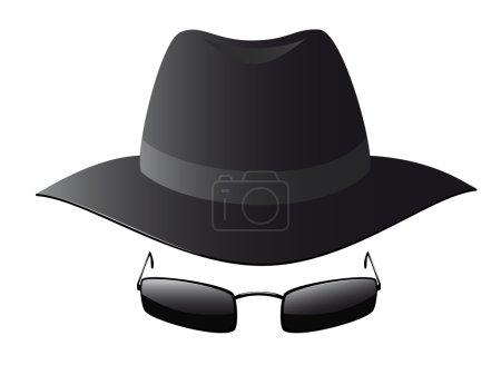 Black sun glasses and spy hat