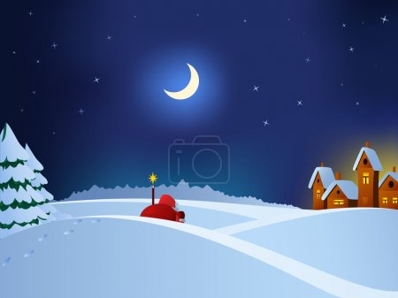 Illustration for Vector illustration. Santa Claus coming to christmas town throw night snow field. - Royalty Free Image