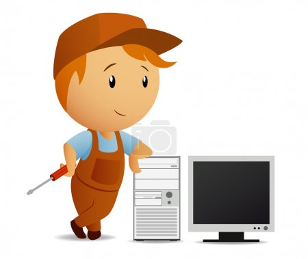 Cartoon serviceman with computer