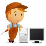 Vector illustration. Cartoon serviceman with screw...