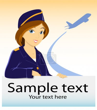 Stewardess with billboard and plane silhouette