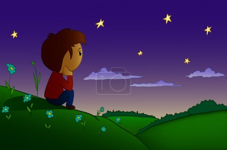 Illustration for Cartoon men sitting rested in night field and hills with sunrise over forest - Royalty Free Image
