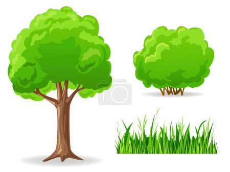 Set of cartoon green plants. Tree, bush, grass.