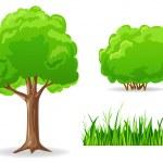 Vector illustration. Set of cartoon green plants. ...