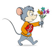 Vector illustration Cartoon cute mouse with heart valentine gift box and flowers