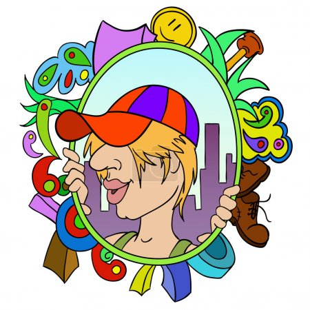 Cartoon teen in cap with abstract urban background