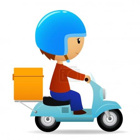 Illustration pour Illustration vectorielle. scooter de dessin animé de livraison avec grosse boîte orange - image libre de droit