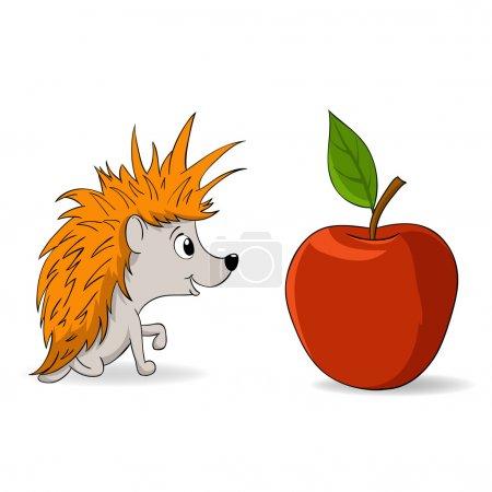 Illustration for Vector illustration. Cartoon little hedgehog and red apple - Royalty Free Image