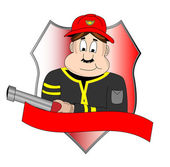 Badget of fire department with fire man