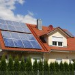 Solar panels on a house roof...