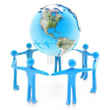 Photo pour Peuples debout autour de la planète terre, main dans la main, isolé sur fond blanc - image libre de droit