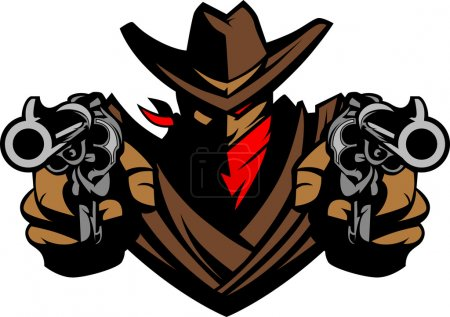 Illustration for Graphic Mascot Image of a Cowboy Shooting Pistols - Royalty Free Image