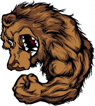 Bear Mascot Flexing Arm Cartoon