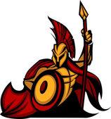 Sparťan trojské maskot s kopím