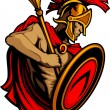 Greek Spartan or Trojan holding a shield and spear