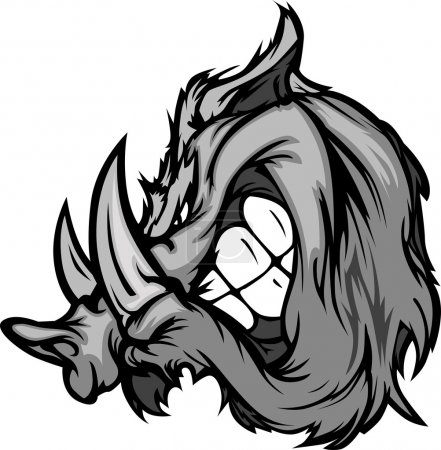 Illustration for Cartoon Image of a Boar Razorback Mascot Head - Royalty Free Image
