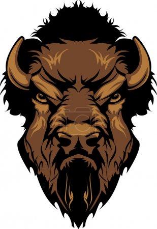 Illustration pour Mascotte graphique Image d'une tête de bison Buffalo - image libre de droit