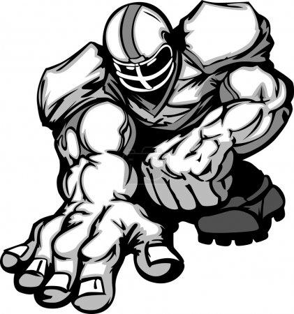 Football Player Lineman Vector Cartoon