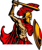 Trojský maskot tělo s mečem a štítem vektorové ilustrace