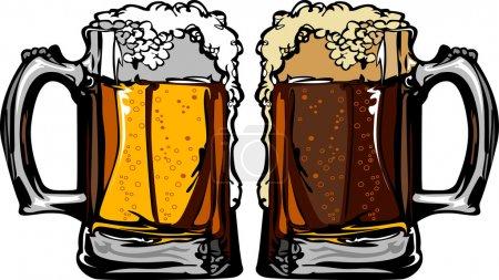 Tasses à bière ou à racines Images vectorielles