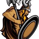 Nordic Viking or Barbarian Vector Mascot wearing a...