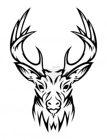 Illustration pour Chevreuil vecteur de style tatouage, peut être utilisé sur les t-shirts . - image libre de droit