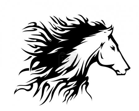 Illustration for Tattoo style horse - Royalty Free Image