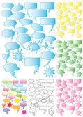 7 Sets of colorful speech bubbles