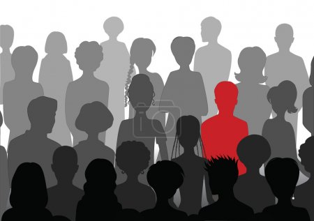 Illustration for Stand out in a crowd, silhouettes - Royalty Free Image