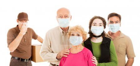 Photo for Family wearing surgical masks to protect from an epidemic, as a delivery man with the flu approaches. Banner isolated on white. - Royalty Free Image