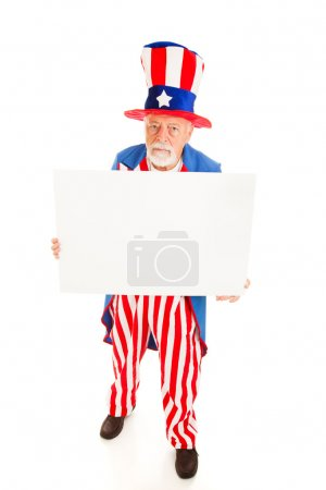 Grumpy Uncle Sam wiith Sign