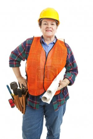 Female Construction Contractor with Blueprints