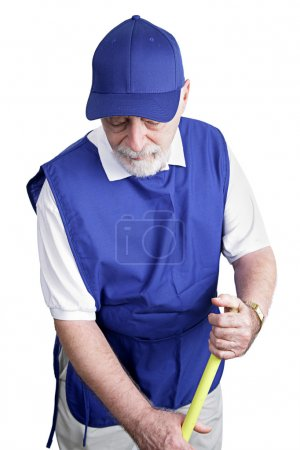 Senior Worker - Sweeping Up