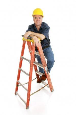 Construction Worker on Ladder
