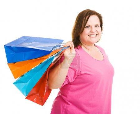 Photo pour Plus heureux taille modèle portefeuille sacs à provisions. isolé sur blanc - image libre de droit