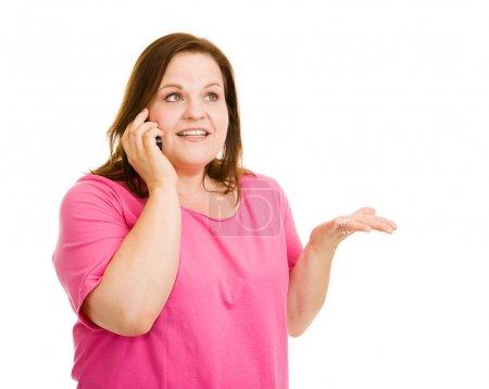 Photo pour Plus jolie taille femme avoir une conversation intéressante sur son téléphone cellulaire. isolé sur blanc. - image libre de droit