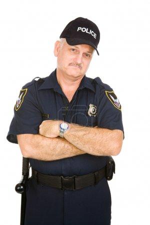 Photo pour Policier cherche grincheux, isolé sur fond blanc. - image libre de droit