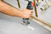 Spiral Saw Cuts Drywall