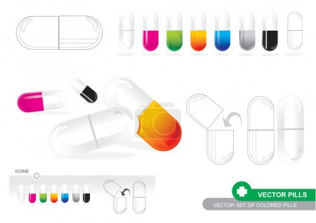 Illustration for Vector Set Of Colored Pills - Royalty Free Image