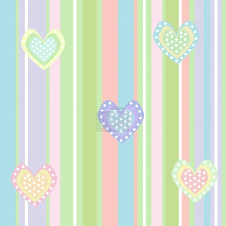 Cute background with lines and hearts