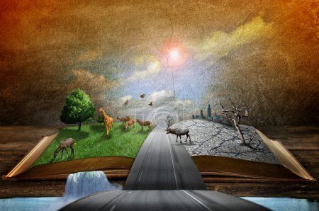 Photo for Creative concept image of country and urban concept coming out of pages in magical book - Royalty Free Image