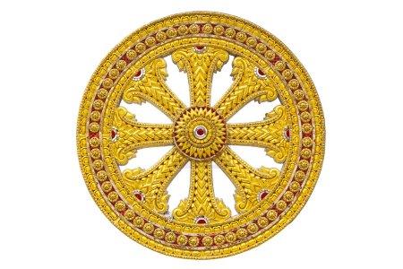 Photo pour Roue de dhamma de bouddhisme - image libre de droit