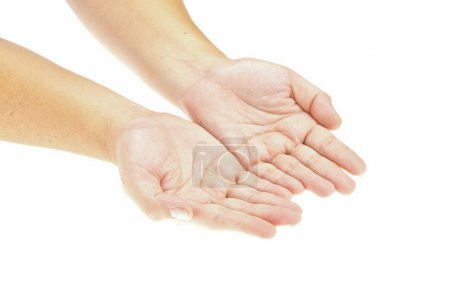Hand, Open hands holding an object. insert your product. Isolate