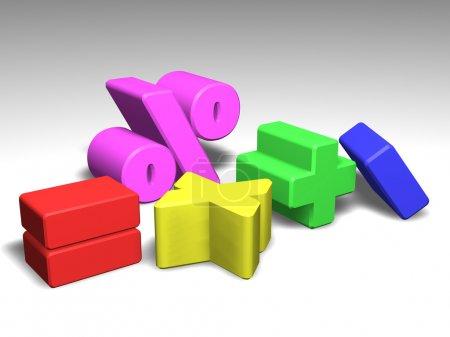 Photo pour Illustration de symboles mathématiques colorés - image libre de droit